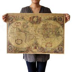 8320623f7 71x50cm Retro Vintage Globe Old World Map Matte Brown Paper Poster Home  Decor