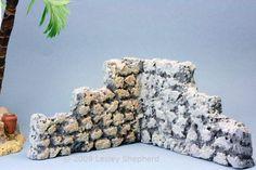 Scale Model Stone Walls From Foam Faux Rock Walls, Faux Stone Walls, Christmas Village Display, Christmas Villages, Christmas Decor, Christmas Ideas, Lemax Christmas, Christmas Houses, Christmas Nativity