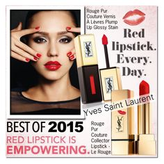 """Best of 2015: Red Lipstick (Yves Saint Laurent)"" by beautifully-eclectic ❤ liked on Polyvore featuring beauty, Yves Saint Laurent, redlips, saintlaurent and bestof2015"