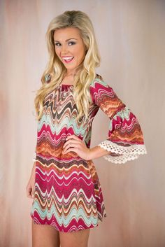 Pink Coconut Boutique | Waving Goodbye Tunic/Dress - Magenta