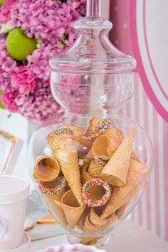 Ice cream cones in a jar at an ice cream birthday party!  See more party ideas at CatchMyParty.com!