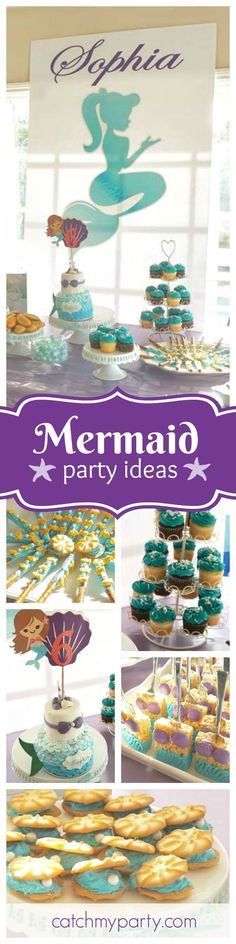Swim away with this fabulous mermaid birthday party! The birthday cake is gorgeous! See more party ideas and share yours at http://CatchMyParty.com