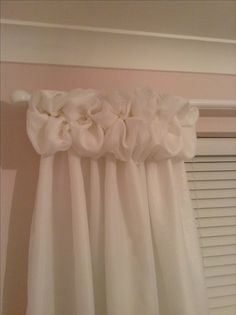 So happy with my first attempt at voile puff ball top curtains for my new shabby chic room :)