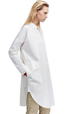 Lash paper white shirt dress in soft, fluid silicone coated poplin #AcneStudios #Resort2015
