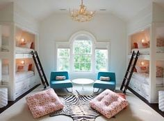 the most elegant shared room I've ever seen, this would be great even for two people with storage or desk space in the above or below