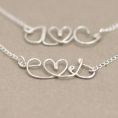 love letter initial necklace. lovers personalized initials. tiny heart. sterling silver wire NECKLACE. Etsy