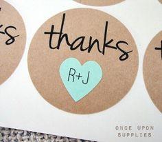 $10, personalized wedding stickers, #mint-heart-stickers #kraft-round-stickers