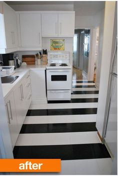Love this black and white floor. They made stripes out of stickable laminate tiles instead of the traditional checked pattern.