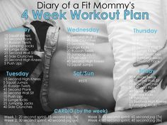 Diary of a Fit Mommy | 4 Week Home Workout Plan. No gym or equipment needed!