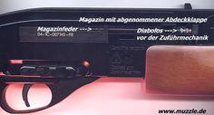 "Gamo 1200    Manufacturer: Gamo (Spain)  Model: ""1200""  Serial No .: 04-1C-007145-98  Caliber: 4.5 mm  Magazine capacity: 12 shots  System: CO2 More loaders, Vorderschaftrepetierer (shotgun)  Drive: 12g CO2 capsule under the barrel (enough for about 60 shots)  Muzzle velocity (Vo): 170 m / s (manufacturer)  Length: 97 cm  Weight: 2.9 kg"