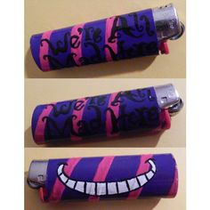 Alice in Wonderland Custom Handmade Cheshire Cat w/ Quote Disney NEW... ($9) ❤ liked on Polyvore featuring lighters