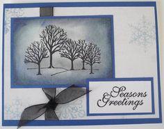 Handmade Christmas Cards set of 3 tree scene