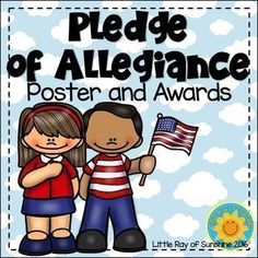 If youre like me and start each day with your class saying the Pledge of Allegiance, then this product is for you!  It comes with one FULL COLOR Poster and Awards in both Full Color & Black and White that read I can say the Pledge of Allegiance all by myself!