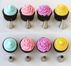 How to frost cupcakes! How to frost cupcakes! How to frost cupcakes! Just Desserts, Delicious Desserts, Delicious Food, Dessert Healthy, Health Desserts, Yummy Treats, Sweet Treats, Frosting Colors, How To Make Frosting