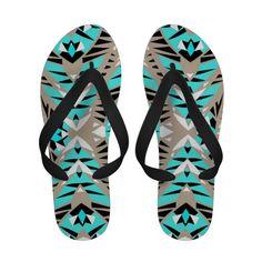 Mix #440 - Aztec Flip Flops For Women