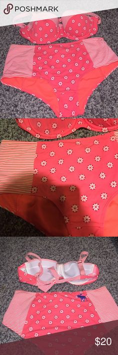A&F HIGH WAISTED BIKINI Super adorable Small high waisted Abercrombie worn only a few times perfect condition electric pink coral color Abercrombie & Fitch Swim Bikinis