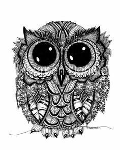 Instant Digital Download, JPEG,  5x7, 8x10, 11 x 14, Pen and Ink, Illustration, Art, Owl, Children, Black and White, Bird, Doodle Art