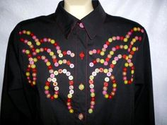 BOB MACKIE Colorful Buttons Wearable Art Black Blouse Western Style M #BobMackie #ButtonDownShirt