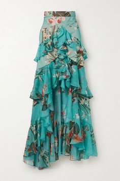 Multicolored chiffon Concealed zip fastening along back polyester; Yellow Skirt Outfits, Turquoise Clothes, Skirt Fashion, Fashion Outfits, Chiffon Maxi Dress, Floral Maxi Skirts, Print Chiffon, Floral Chiffon, Curvy Outfits