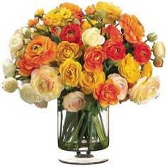 Allstate Floral Mixed Color Ranunculus Faux Flower Arrangement (600 CAD) ❤ liked on Polyvore featuring home, home decor, floral decor, flowers, fillers, plants, decor, imitation flowers, flower stem and faux flowers
