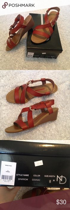 New directions brown sandal wedges 8 New in the box ✨ soft leather straps, no flaws, no trades new directions Shoes Sandals