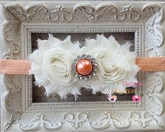 Peach and Ivory Chiffon Headband with by MyLilSweetieBoutique, $9.95