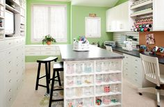 Craft room with cabinetry and center island