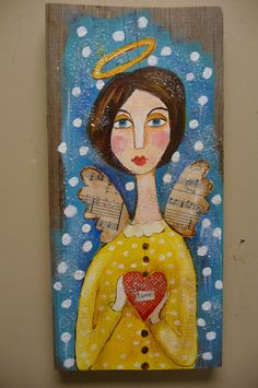 Sweet Angel Original Mixed Media Free Shipping. $52.00, via Etsy.