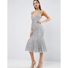 ASOS RED CARPET Scattered Sequin Midi Fishtail Dress featuring polyvore, women's fashion, clothing, dresses, silver, v neck cocktail dress, bodycon dress, v neck sequin dress, v neck dress and v-neck dresses
