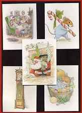 VINTAGE UNUSED CHRISTMAS GREETING CARD LOT OF 5 PAWPRINTS WALLACE TRIPP ADORABLE