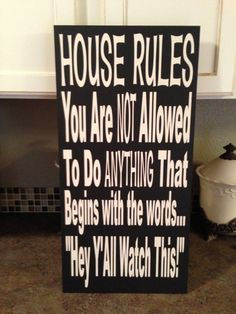 House Rules Sign 12 x 24 Sign on Etsy, $39.00