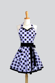Womens Flirty Sweetheart Apron / Retro Vintage Styling in Feminine Ruffled Black and Periwinkle Purple Plaid Bias. $36.00,