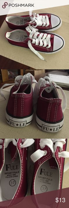Brand new Fule shoes Brand new, look just like converse all stars but are called Fule, maroon size 6 1/2 Shoes Athletic Shoes
