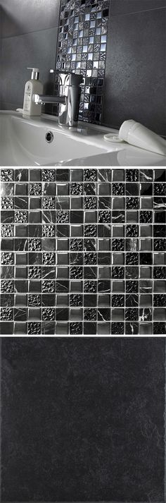 Stone Effect Charcoal Mercantour Tiles with Black Natural Marble and Glass Mosaic Tiles.  Use our charcoal stone effect tiles along side the black marble and glass tiles to create a winning combination. The sparkling mosaics add a sense of elegance into the room when placed alongside the dark connotations of the charcoal - order samples of these tiles online to see for yourself!