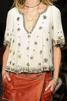 Celebrities who wear, use, or own Isabel Marant Spring 2013 RTW Embellished Top. Also discover the movies, TV shows, and events associated with Isabel Marant Spring 2013 RTW Embellished Top. Fashion Details, Love Fashion, Womens Fashion, Estilo Hippie, Quoi Porter, Embellished Top, Spring Summer Fashion, Prada Spring, Spring Style