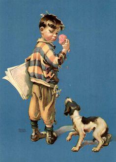 'Newsboy Child With Dog' Frances Tipton Hunter