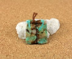 Turquoise Rectangle Earring Pair Brown Tan and Green by ABOSBeads