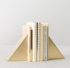 Geometric Cast-Metal Bookends Brass Set of 2