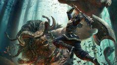 video games monsters demons fantasy art artwork warriors core blaze 1920x1080 wallpaper