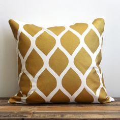 hand Printed Aya Gold Pillow. Just love GOLD accent pillows