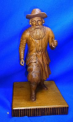 Vintage German Wood Carved Bearded Man with Hat Figure #AX