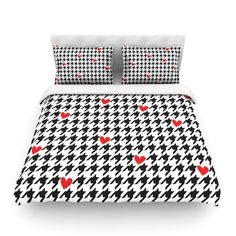 East Urban Home Spacey Houndstooth Heart by Empire Ruhl Featherweight Duvet Cover Size: Full/Queen