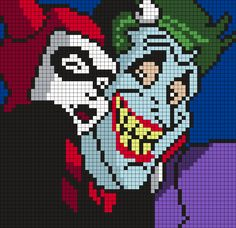Harley Quinn And The Joker Selfie (Square) Perler Bead Pattern / Bead Sprite