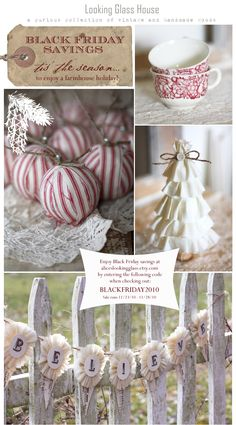 i like these striped ornaments. Country Christmas