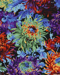 Shade Garden Flowers And Decor Ideas Kaffe Collective - Shaggy Mums - Quilt Fabrics From Motif Floral, Arte Floral, Botanical Prints, Floral Prints, Flowers Wallpaper, Japanese Chrysanthemum, Creative Textiles, Fantasy Paintings, Plant Art