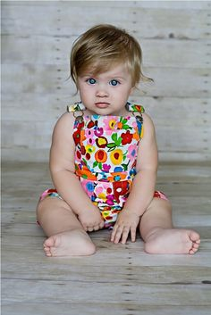 Shortall in Bright Watercolor Summer Garden by OverallBaby on Etsy, $48.00