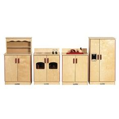 "Realistic 4-piece birch kitchen set: Stove has four burners, six rotating knobs, an acrylic window and interior shelf. Sink features water sprayer, turn faucet, and storage shelves. Cupboard and refrigerator include storage shelves for dishes and ingredients. Kitchen set features magnetic closures with full-length piano hinges. $749.95 (Assembled size: 116"" x 15"" x 35"")"
