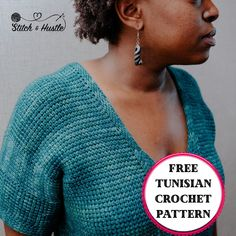 Get your Comfort Tee Tunisian Crochet free crochet pattern by Detroit Knots to make your very own summer crochet top. #freecrochetpattern #stitchandhustle #detroitknots #tunisiancrochet #summercrochet