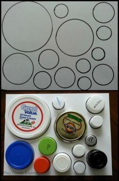 Use recycled lids and caps to create an easy match game for your little one!