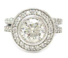 Round cut diamond engagement ring and band bezel set 1.68ctw
